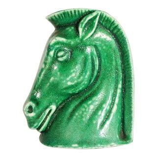 Vintage Green Glazed Art Pottery Horse Head Vase For Sale