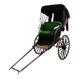 Antique Green & Black Covered Rickshaw