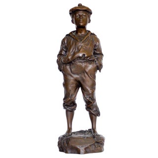 """The Whistler"" Bronze Sculpture of Young Boy, circa 1908"