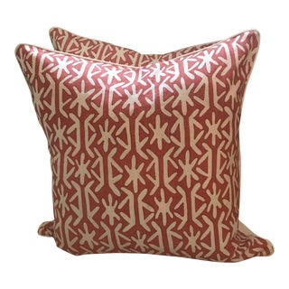 Boho Chic Quadrille Pillows - A Pair For Sale