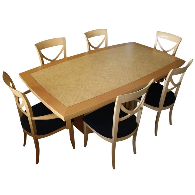 7 Piece Italian Excelsior Burl Maple Dining Set For Sale