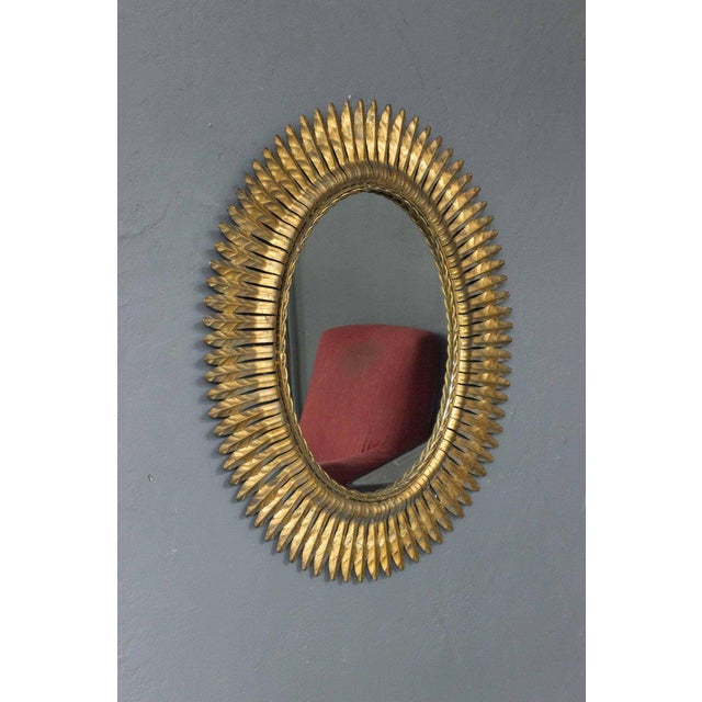 Mediterranean Unusual Pair of Spanish 1940s Gilt Metal Sunburst Mirrors For Sale - Image 3 of 6
