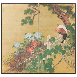 Japanese Two-Panel Showa Screen of Two Roosters For Sale