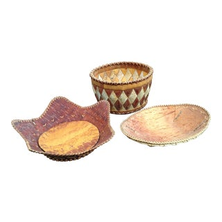Kobuk River Woven Birch Bark Baskets - Set of 3 For Sale