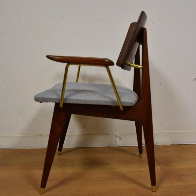 Walnut & Brass Occasional Chair - Image 6 of 11