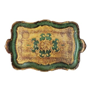 Vintage Italian Florentine Hand Painted Partial Gilt Wooden Serving Tray For Sale