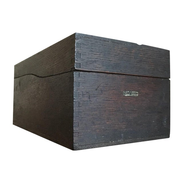 Vintage Globe Wernicke Wooden Index Card File Box For Sale