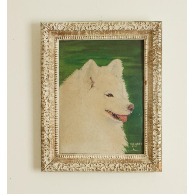 """1960s """"Our Heidie"""" Dog Portrait Oil Painting, Framed For Sale In Los Angeles - Image 6 of 6"""
