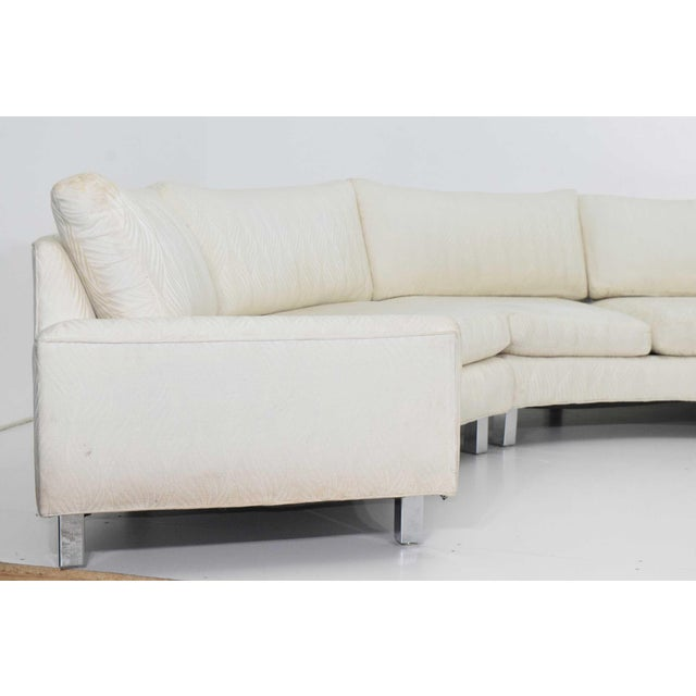Large Milo Baughman White Upholstered Four Section Circular Sofa For Sale - Image 12 of 13