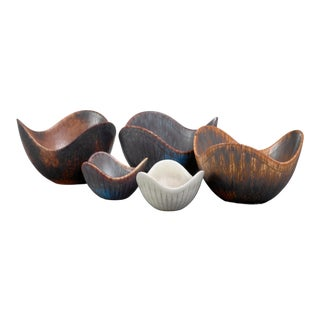 Gunnar Nylund Set of Five Ceramic Bowls, Sweden For Sale