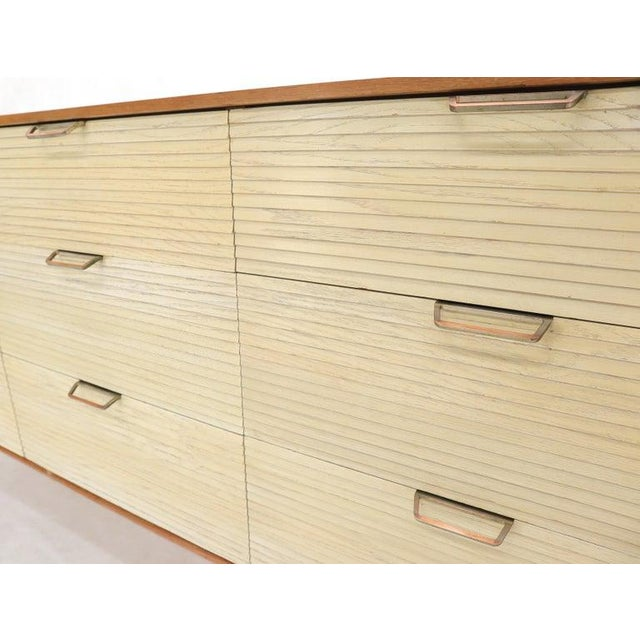 Mid 20th Century Two Tone Nine Drawer Cerused Oak Long Dresser Credenza by Mengel For Sale - Image 5 of 13