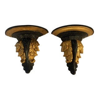 1980s Italian Florentine Neoclassical Giltwood Wall Sconces or Brackets in Black With Gilt Details - a Pair For Sale