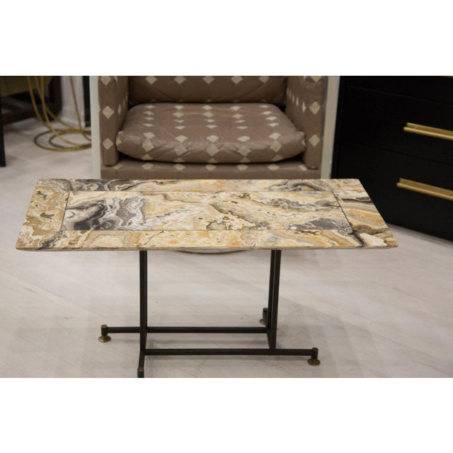 Onyx Coffee Table With Brass Inlay and Iron Base For Sale - Image 4 of 8