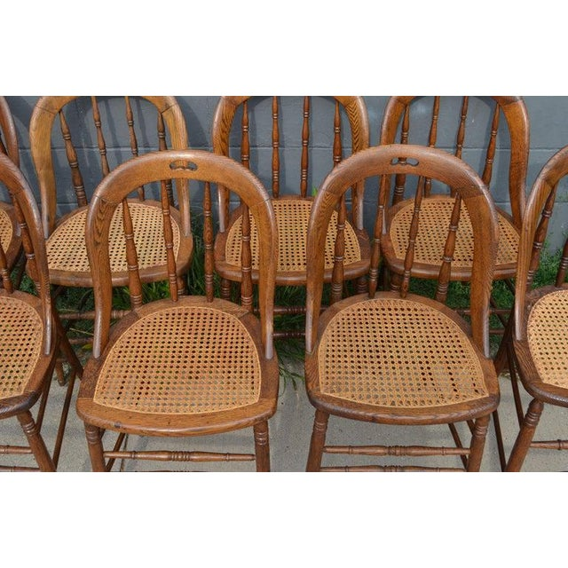 Early 19th Century Dining Room Chairs With Caned Seats. Victorian Windsor Bow Back Style. Set of 8. For Sale - Image 5 of 13