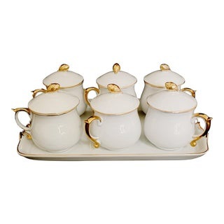 Vintage Pot De Creme Set by Stafford With Tray For Sale