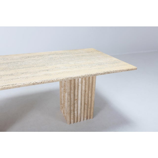 Carlo Scarpa Travertine Dining Table in the Style of Carlo Scarpa and Angelo Mangiarotti For Sale - Image 4 of 11