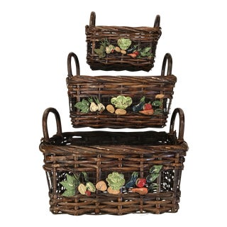 Mid-Century Modern Nesting Vegetable Baskets -Set of Three For Sale