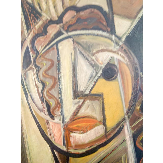 Cubism Portrait of Female Oil Painting by Signed BW For Sale - Image 3 of 5