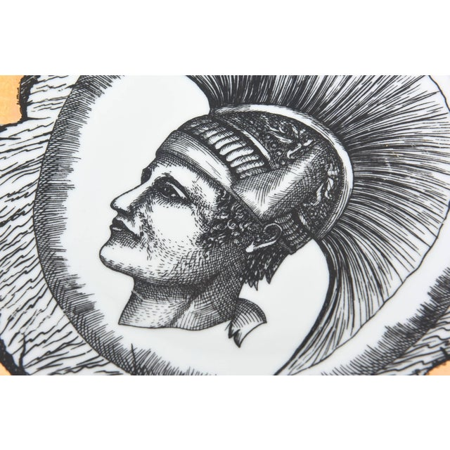 1960s Vintage Italian Fornasetti Style Bucciarelli Porcelain Plates- A Pair For Sale In Miami - Image 6 of 10