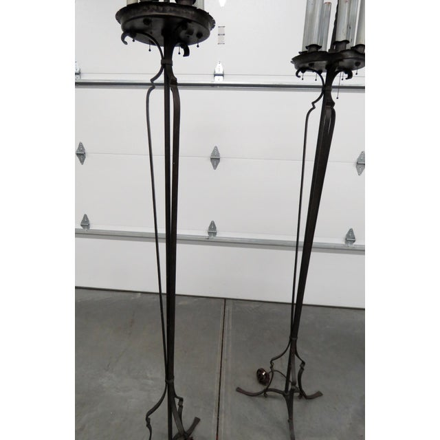 Traditional Pair of Antique Wrought Iron Floor Lamps For Sale - Image 3 of 11