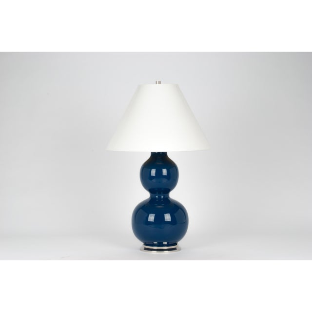 Contemporary Natalie Lamp in Midnight Blue / Polished Nickel - Christopher Spitzmiller for The Lacquer Company For Sale - Image 3 of 3
