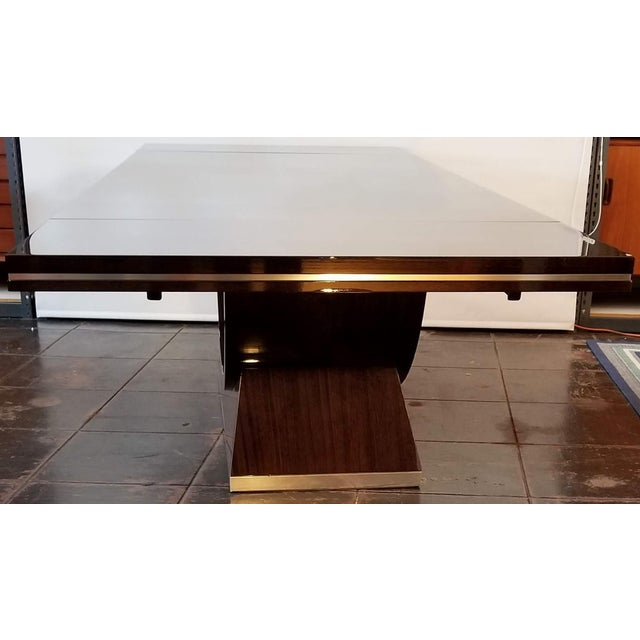 20th Century Italian High Gloss Walnut and Chrome Extendable Dining Table For Sale In San Diego - Image 6 of 9