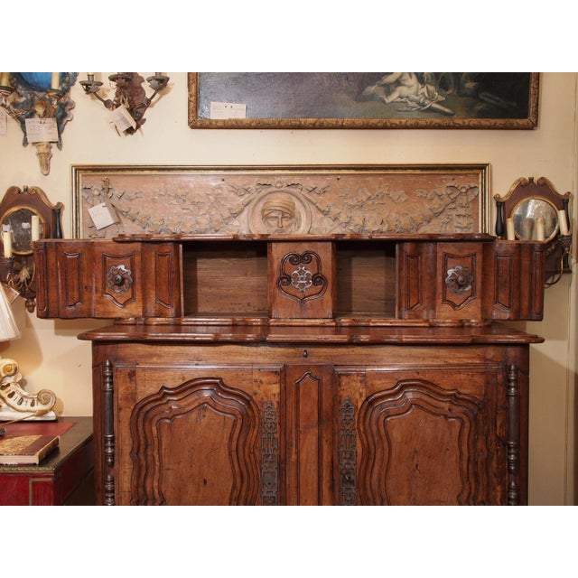 Early 18th century French Carved Walnut Buffet For Sale - Image 4 of 11