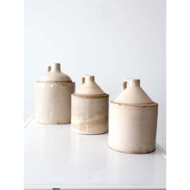 Antique Stoneware Crock Jugs - Set of 3 For Sale - Image 4 of 8