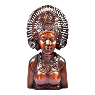 1940s Indonesian Hand Carved Hardwood Bust by A.A. Fatimah For Sale
