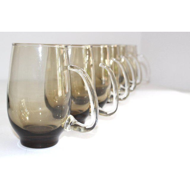 Blown Glass Set of Six Mid-Century Modern Tinted Glass Mugs by Libbey Glass Co. For Sale - Image 7 of 13