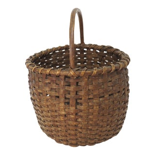 Antique New England Splint Carry Basket For Sale