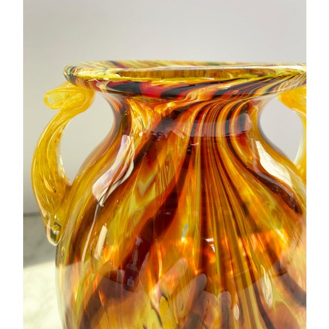 1960s 1960s Murano Swirl Glass Vase With Handles For Sale - Image 5 of 7