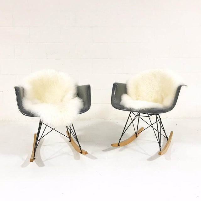 Charles & Ray Eames for Herman Miller Rar Rockers With Sheepskins - a Pair - Image 3 of 7