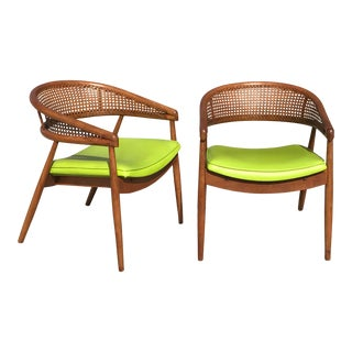 1970s Vintage Thonet James Mont Bent Wood & Cane Armchairs - a Pair For Sale