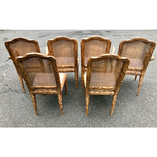 Caning Faux Bois Dining Chairs - Set of 6 For Sale - Image 7 of 13