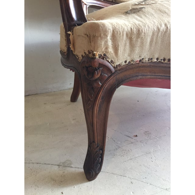 Antique Louis XV Carved Walnut Settee Loveseat - Image 4 of 11