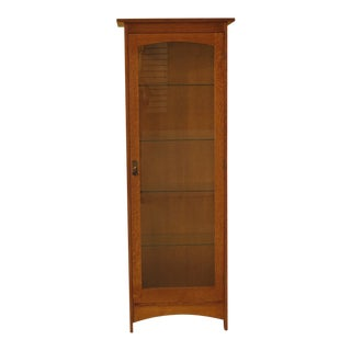 1990s Vintage Stickley Mission Oak Arts & Crafts Curio Cabinet For Sale