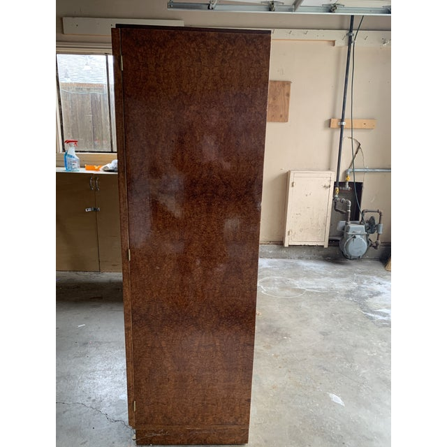 1930s Art Deco Burlwood Armoire For Sale In San Francisco - Image 6 of 9