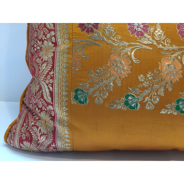 Anglo-Indian Orange Silk Pillow Custom Made From Indian Wedding Saris For Sale - Image 3 of 7