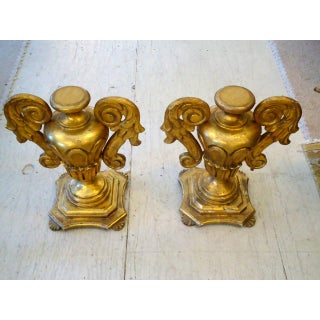 Elegant Chunky Pair of Gold Leaf Carved Wood Urn Shaped Objects Preview