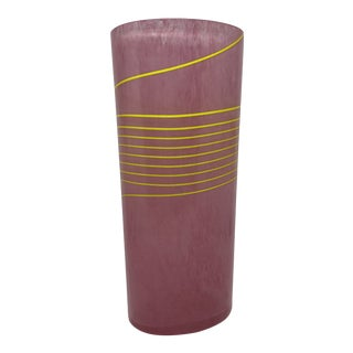 Bertil Vallien for Kosta Boda Pink and Yellow Striped Glass Vase For Sale