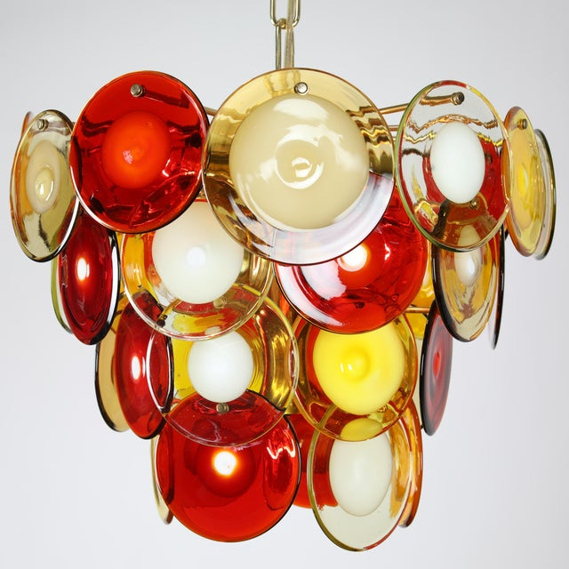 Italian 1960's VINTAGE VISTOSI MURANO GLASS DISC CHANDELIER For Sale - Image 3 of 9