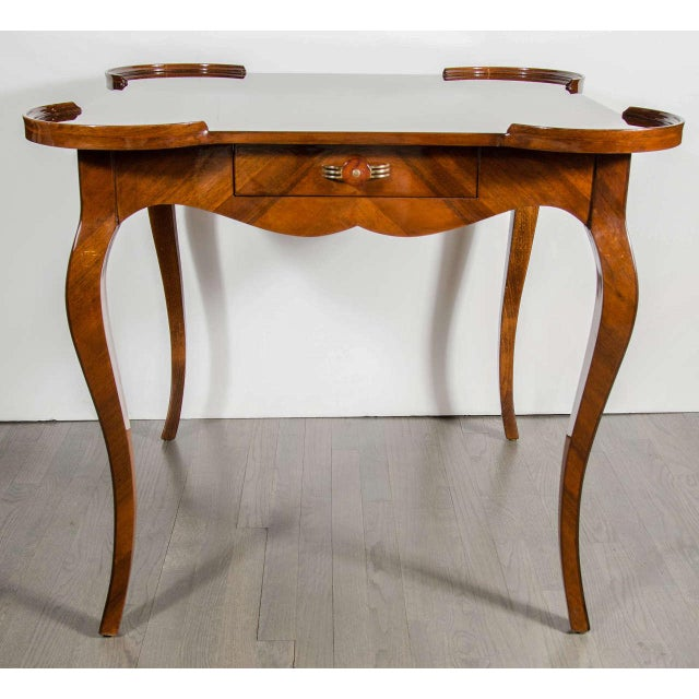 Exceptional Art Deco Game Table With Exotic Burled Walnut Inlay For Sale - Image 4 of 11