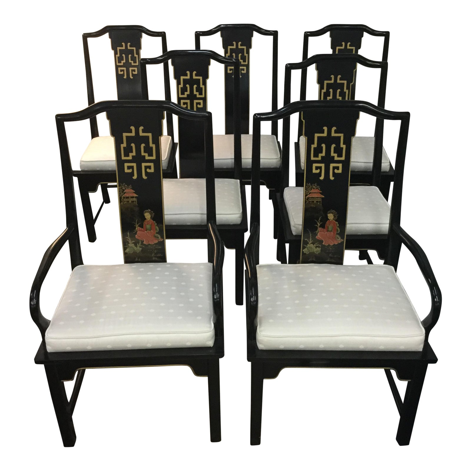 Century Asian Style Dining Room Chairs Set Of 5 Chairish