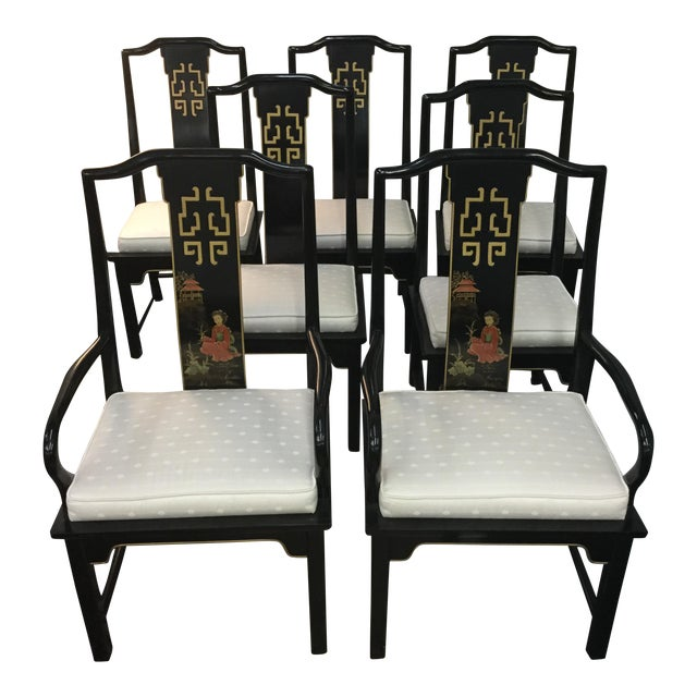 asian dining room chairs | Century Asian Style Dining Room Chairs - Set of 5 | Chairish