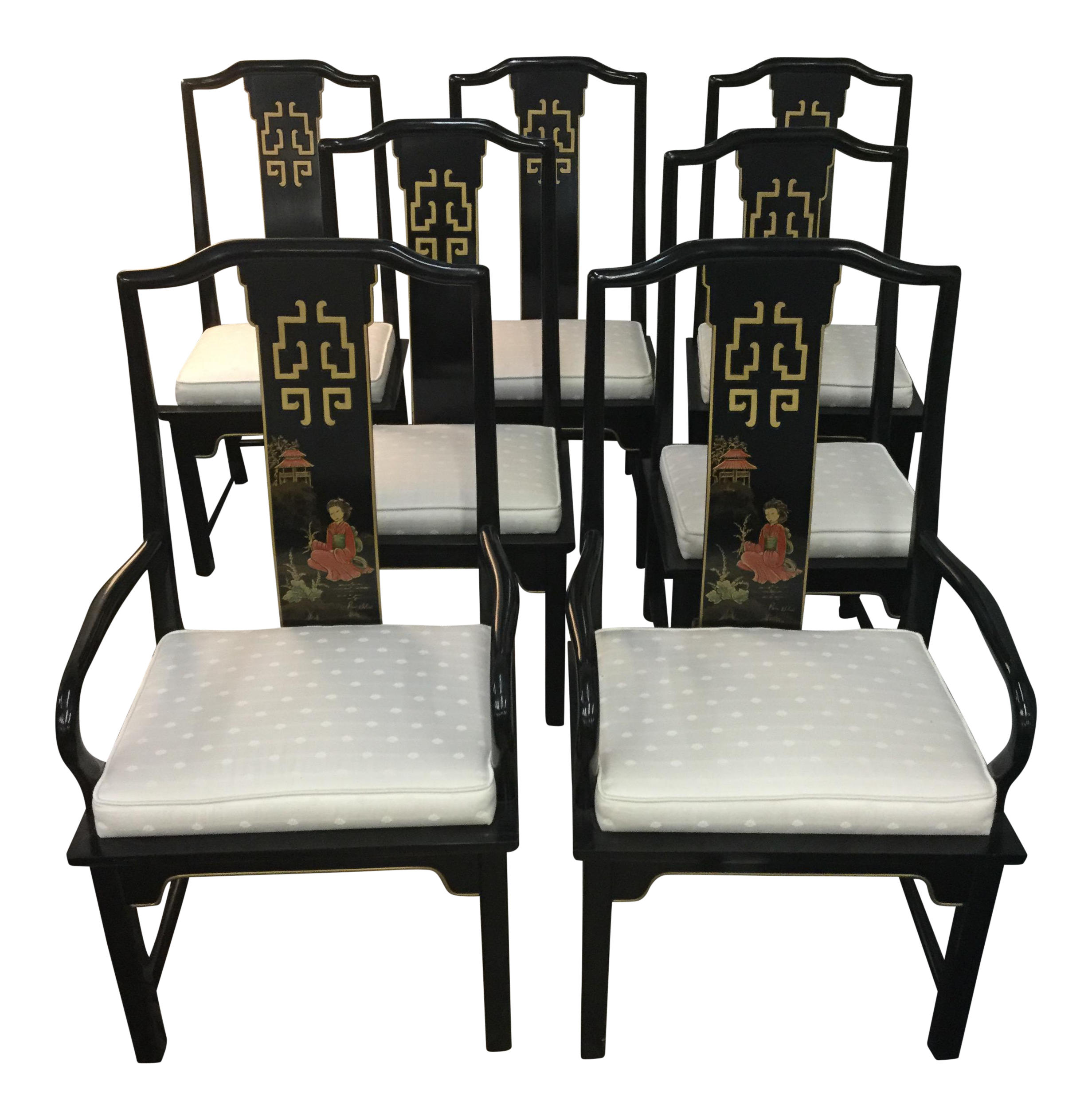 Century Asian Style Dining Room Chairs   Set Of 5   Image 1 Of 7