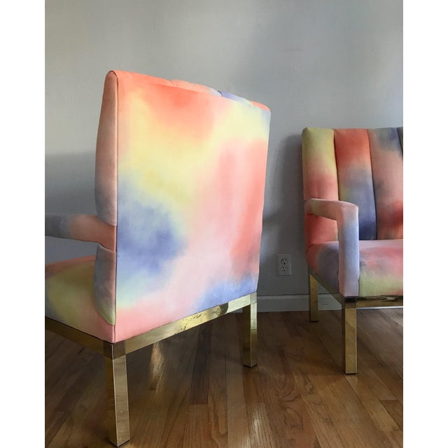 Modern Mid Century Colorful Velvet Upholstered Brass Base Arm Chairs -A Pair For Sale - Image 3 of 9