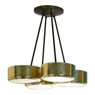 Gerald Thurston for Lightolier Four Shade Chandelier, Circa 1960s For Sale