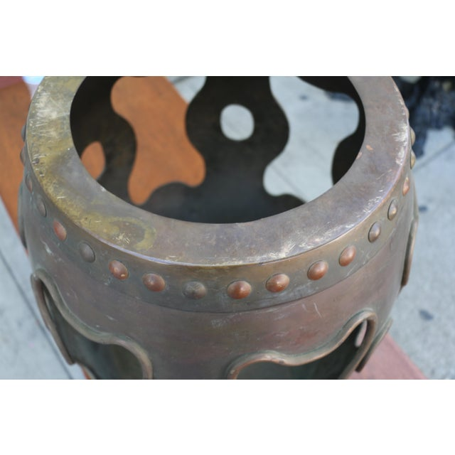 Brown Vintage Chinoiserie Metal Stool For Sale - Image 8 of 9