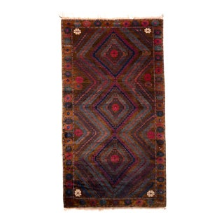 1950s Mid-Century Vintage Baluch Rug Brown Blue and Pink Persian Tribal For Sale